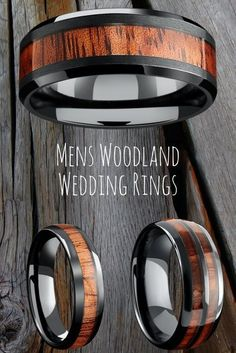Black wood wedding bands for men. These wooden wedding rings are part of the woodland wedding rings collection. The perfect wedding ring for the outdoorsmen. #weddingrings