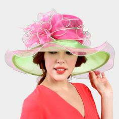 Derby Church Wedding Lime & Pink Double Layer Ombre Flower Organza Hat 331608 #SomethingSpecial #ChurchDress