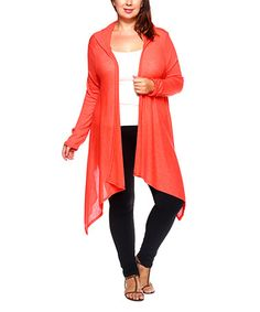 Another great find on #zulily! Orange Hooded Sidetail Open Cardigan - Plus…