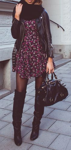 Autumn florals - amazing dress, moto and bag. Fall fashion ideas 2015.