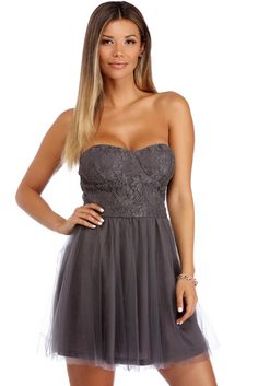 Heather Charcoal Strapless Lace Mini Dress | WindsorCloud