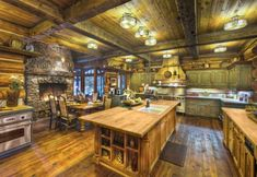 Fireplace in kitchen - Amazing Kitchens Design With Rustic Elements