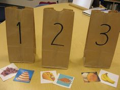 Reading:  Syllable activities Put pictures in labelled bags according to the number of syllables you hear.   This could be a center activity with a self check in a folder or under each bag.