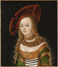 Giclee Print: Portrait of a Young Girl, Half Length, Wearing Green and Gold Costume with a Red Hat by Lucas Cranach the Elder : Renaissance Portraits, Renaissance Costume, Renaissance Clothing, Festival Avignon, 16th Century Fashion, Lucas Cranach, Disco Fashion, Grand Palais, Old Master
