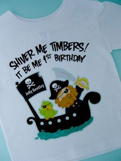 Personalized Pirate First Birthday Shirt or by ThingsVerySpecial, $14.99