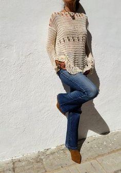 Cotton cream sweater for woman, hand knitted cream lace jumper por EstherTg – Knitting world Loose Knit Sweaters, Summer Sweaters, Cotton Sweater, Sweaters For Women, Cropped Sweater, Handgestrickte Pullover, T-shirt Au Crochet, Crochet Shirt, Yarns