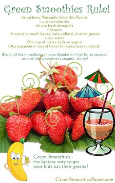 Smoothie Recipes For Kids (and Adults): Healthy Green Smoothies Even Picky Eaters Can Enjoy! - Smoothie Recipes For Kids (and Adults): Healthy Green Smoothie Recipes To Enjoy Best Picture For i - Strawberry Pineapple Smoothie, Pineapple Smoothie Recipes, Smoothie Recipes For Kids, Smoothies For Kids, Raspberry Smoothie, Juice Smoothie, Smoothie Drinks, Coconut Smoothie, Healthy Green Smoothies