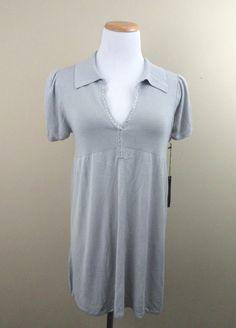 BCBG Max Azria Grey Tunic Top Short Sleeve Rhinestone #BCBGMAXAZRIA #Tunic