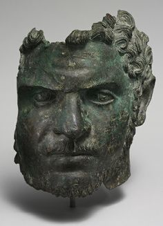 Fragmentary bronze portrait of the emperor Caracalla, ca. 212–217 A.D.; Mid-Imperial, Severan, Roman, Bronze, H. 8 1/2 in. (21.6 cm), The Metropolitan Museum of Art.