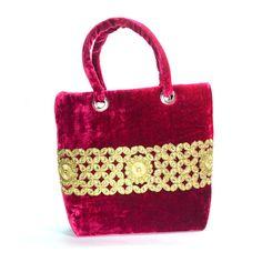 Indian Elegant Magenta Rich Golden Design Women HandMade Hand Bag Xmas Gift Sale #ArishaKreationCo