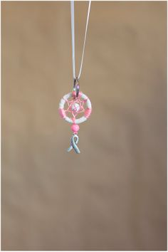 Pink and White Dreamcatcher Keychain - Breast Cancer Awareness Ribbon Keychain