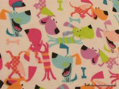 Flannel Fabric  Neon Puppy  1 yard  100% Cotton by SnappyBaby