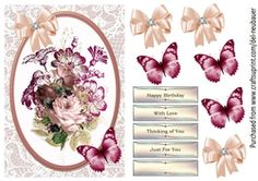 - A quick design with Pink roses, embellished with Butterfly and Bow. Sheet includes decoupage elements and sentiment panel. Teal Candles, Summer Sky, Cup Design, Blue Christmas, Love Cards, Rose Bouquet, Vintage Roses, Hibiscus, Pink Roses