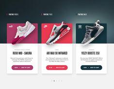 Pantone Sneaker Shopping Cards di Matt Thompson D su Dribbble Pop Design, Design Lab, Web Ui Design, Layout Design, Graphic Design, Sketch Design, Design Concepts, Flat Design, Pantone