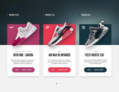 Pantone Sneaker Shopping Cards by Matt Thompson via dribbble. or? #uxigers #ux #carddesign