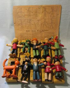 VINTAGE SET OF JAYMAR WOODEN COMIC FUNNIES FIGURES WITH BOXES AND INSTRUCTIONS  #JAYMAR