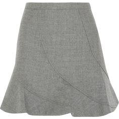 J.Crew Flared wool mini skirt ($165) ❤ liked on Polyvore featuring skirts, mini skirts, grey, j.crew, flare short skirt, flare skirt, short flared skirts and gray skirt