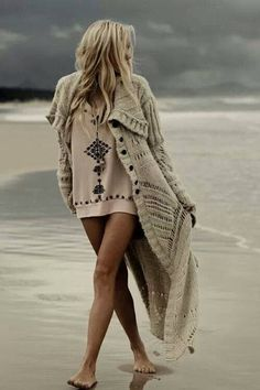 Boho style. Big sweaters for any time of year.
