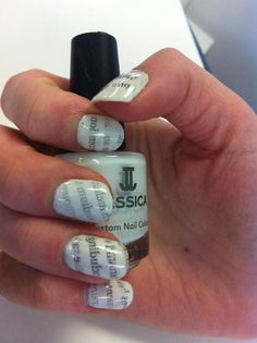 Newspaper nails, using Jessica Custom Colour in Wedding Gown as the base.