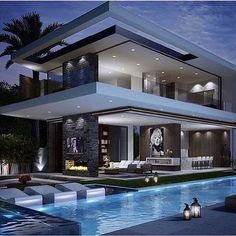 A modern house exterior design can come in so many choices. There are two main types of design: styles that include minimalistic building styles that add color and style to the exterior. Dream Home Design, Modern House Design, Luxury Homes Dream Houses, Dream Homes, Dream Mansion, Modern Mansion, Modern Houses, Dream House Exterior, Exterior Design