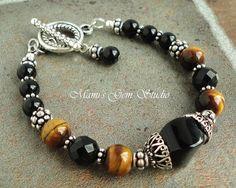 Black Onyx and Tiger Eye Bracelet, Handmade Gemstone Jewelry, Antiqued Silver Metal via Etsy