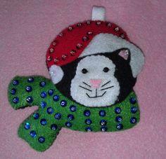 Handmade felt applique black and white kitty cat by cheshirecat22,