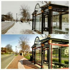A cool bus shelter on University Avenue in the Neighborhood of the Arts.