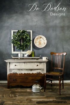 I love the way this antique dresser turned out using Wise Owl Paint. The chair matches the wood perfectly.