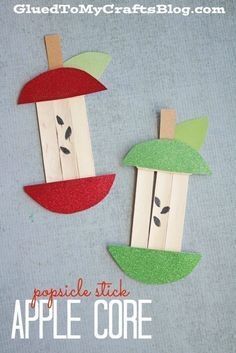 Popsicle Stick Apple Core Kid Craft is part of Kids Crafts For Girls - This Popsicle Stick Apple Core Kid Craft idea has a backtoschool theme, as well as a fall theme it's never too early to plan! Daycare Crafts, Classroom Crafts, Toddler Crafts, Apple Classroom Decorations, Pre School Crafts, Fall Crafts For Kids, Summer Crafts, Art For Kids, Kids Fruit Crafts