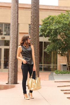 Leather peplum and gold