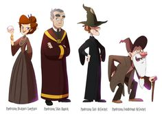 Caerulus Ignus - Professor Langtree (Divination), Professor Orrick (Potions), Professor R. McGucket (Defense Against the Dark Arts), Professor F. McGucket (Muggle Studies), (Hogwarts, Gravity Falls, Over The Garden Wall, Done by KicsterAsh)