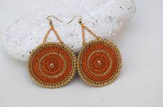 Crochet round earrings Crochet jewelry Big by lindapaula on Etsy  Aretes, pendientes, zarcillos de ganchillo.