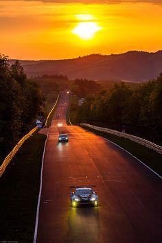 Aston Martin - Nürburgring Sunset - On the legendary German Race Track set in the beautiful Eifel Mountains. Le Mans, Nascar, Gt Cars, Race Cars, Maserati, Ferrari, Lamborghini, Stock Car, Gp F1