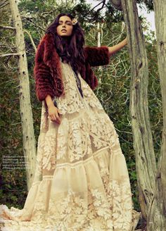 Flowing bohemian dresses in soft lace + cozy fur jackets = winter woodland editorial