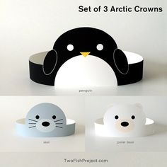 Set of 3 DIY Printable Arctic Animal Paper Crowns: penguin, seal and polar bear. Perfect for kids parties, birthdays, baby showers, costumes. This listing is for an digital file. No physical item will be shipped. Buy it once, print as many as you like! SUPPLIES YOULL NEED TO MAKE