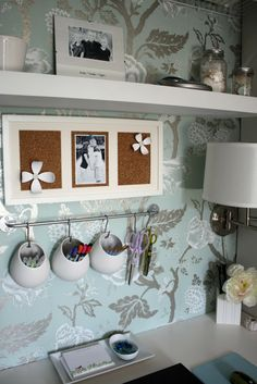 Desk organization and decor. Different wallpaper and hanging mason jars