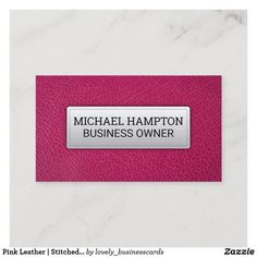 Pink Leather | Stitched Leather Banner Business Card