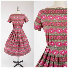 Vintage 50s Dress  Fuschia Daylilies  Pink Floral by stutterinmama