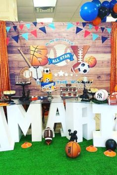 Check out this awesome AllStars baby shower! The dessert table is incredible!! See more party ideas and share yours at CatchMyParty.com  #catchmyparty #partyideas #allstarsparty #boybabyshower #allstarsbabyshower Baby Shower Cakes For Boys, Star Baby Showers, Baby Shower Party Favors, Baby Shower Games, Baby Shower Parties, Baby Boy Shower, Soccer Theme Parties, Party Themes, Party Ideas