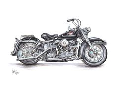 This is a marker rendering of a 1959 Harley Davidson Panhead motorcycle…