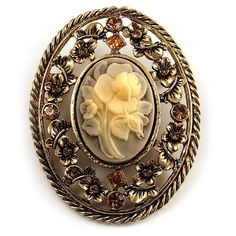 Vintage Floral Crystal Cameo Brooch (Antique Gold Finish) - CF114CHUI51 - Brooches & Pins  #jewellrix #Brooches #Pins #jewelry #fashionstyle