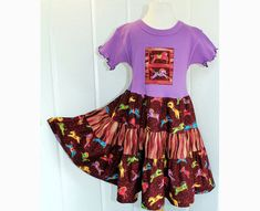 503e7a29e98 Horse Lovers Girls Purple Dress Fall Tween Girl Clothes Sizes 10 12 14  Carousel Horse Tiered