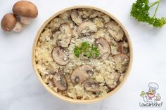 Cauliflower Risotto with Mushrooms - cauliflower rice, chestnut mushrooms, on. Super Healthy Recipes, Healthy Baking, Low Carb Recipes, Baking Recipes, Cauliflower Risotto, Cauliflower Dishes, Comida Keto, Low Carb Lunch, Easy Cooking