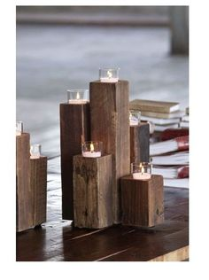 """So """"super simple"""" candle wood project that's gorgeous. Think I'll make some this week. :)  I LOVE simple, cheap & upscale looking DIY decor! Don't we all? That would be a yes~ (;"""