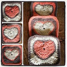 Annoo's Crochet World: Valentine Heart Granny Square Free Pattern~photo tutorial Granny Square Häkelanleitung, Granny Square Crochet Pattern, Crochet Squares, Crochet Motif, Crochet Patterns, Granny Squares, Crochet Hearts, Square Blanket, Crochet Designs