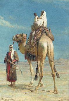 m Ranger Sword Camel wilderness A Bedouin Family in Wadi Mousa Syrian Desert 1859 by Carl Haag Middle Eastern Art, Arabian Art, Islamic Paintings, Arabian Nights, Art Plastique, Beautiful Paintings, Islamic Art, Love Art, Art History