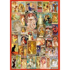 Get challenged by this wooden jigsaw from Wentworth Art Nouveau Poster Collage, a high quality British made puzzle with unique whimsy pieces (500pc)