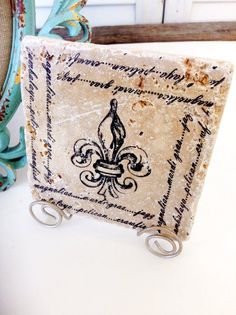 Fleur de lis  tile with Stand included by mydecor8 on Etsy, $7.50