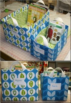 Storage Boxes - Tutorial    More craft envy. *sigh* Maybe these bins in a fun 'book' material would be good for storing library books. (One commenter suggests adding foam board to make the bins sturdier ...)