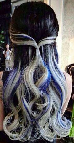 Black gray blue streak dyed hair color